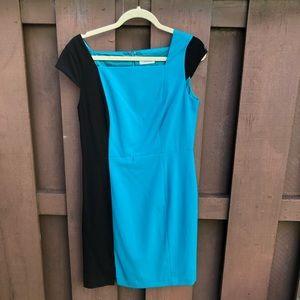 Calvin Klein blue and black cap sleeve dress